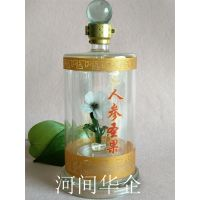 内置小花定制酒瓶 高硼硅加厚玻璃造型酒瓶河间华企供应瓶