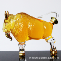 手工吹制牦牛酒瓶 河间手工艺定制耐高温玻璃瓶