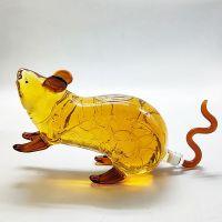 十二生肖老鼠酒瓶手工吹制动物造型金钱鼠空酒瓶