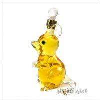 河间高硼硅玻璃酒瓶加工定制 十二生肖老鼠造型酒瓶空心瓶