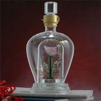 双层玻璃白酒瓶手工艺耐高温玻璃内置花朵造型空酒瓶