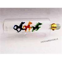 马到成功手工吹制造型酒瓶 河间高硼硅艺术定制空心瓶